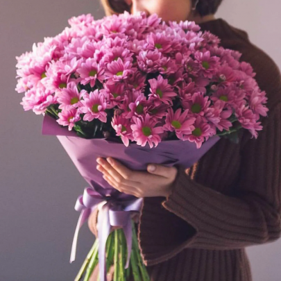 9 Розовых Хризантем Кустовых фото