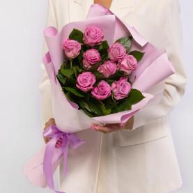 9 Сиреневых Роз (60 см.) фото
