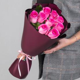 9 Ярко-Розовых Роз (50 см.) фото