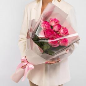 9 Ярко-Розовых Роз (60 см.) фото