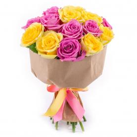 15 Желто-Розовых Роз (50/60 см.) фото