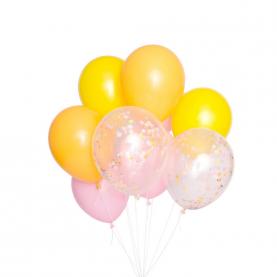 9 Желто-Розовых Воздушных Шаров фото