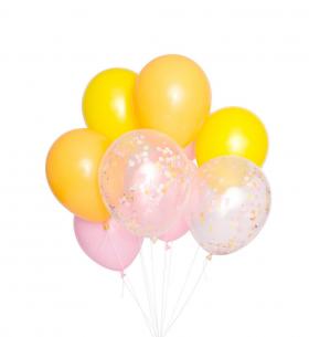 9 Желто-Розовых Воздушных Шаров