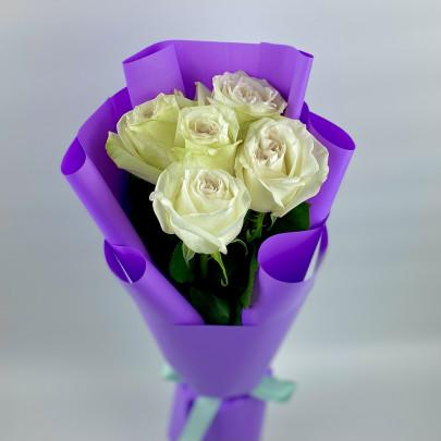 5 Пионовидных Роз White Ohara (50 см.) фото