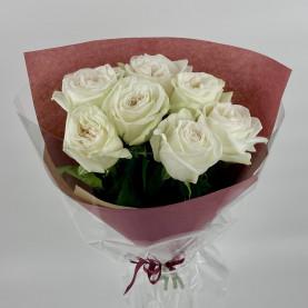 7 Пионовидных Роз White Ohara (50 см.) фото