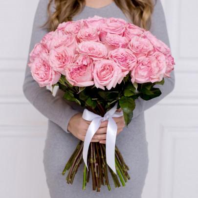 35 Пионовидных Роз Pink Ohara (50 см.) фото