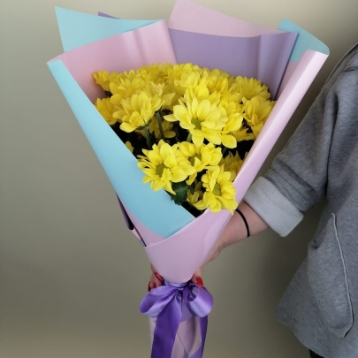 7 Жёлтых Кустовых Хризантем фото
