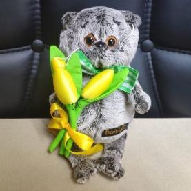 Мягкая игрушка Басик: С желтыми тюльпанами (19 см.) фото