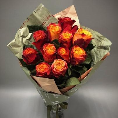 11 Оранжевых Роз (50 см.) фото