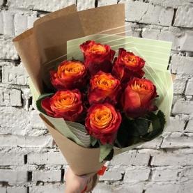 7 Оранжевых Роз Эквадор (50/60 см.) фото