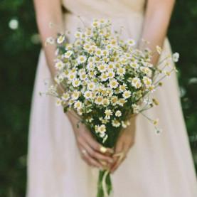 15 Кустовых Ромашек в букете невесты фото