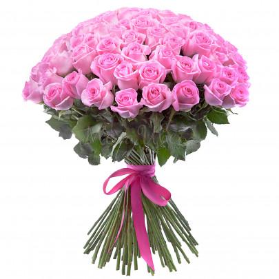 75 Розовых Роз Эквадор (50/60 см.) фото