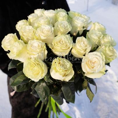25 Белых Роз Эквадор (50/60 см.) фото