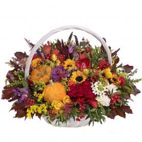 Корзина цветов Дары Осени фото