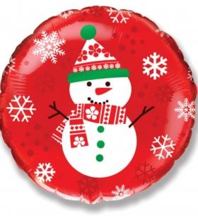 """Фольгированный шар, """"Снеговик"""" (Красный)"""