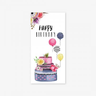 """Конверт для денег """"Happy birthday"""" торт с цветами фото"""