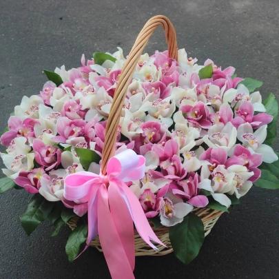 59 Белых и Розовых Орхидей в корзине фото
