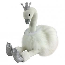 Мягкая игрушка Лебедь белый с серебряными лапками (15 см.) фото