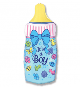"""Воздушный Шар """"Мини-фигура"""" (Бутылочка для мальчика) на палочке"""