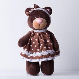 Мягкая игрушка Медведь Milk в платье горох фото