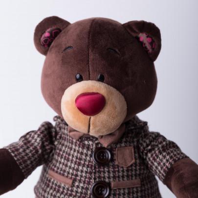 Мягкая игрушка Медведь Choco стоячий в клетчатом пиджаке фото