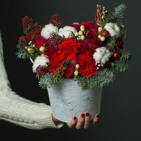"""Новогодняя Композиция """"Алый Бархат"""" фото"""