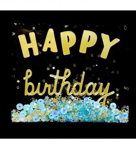 """Открытка """"Happy Birthday"""" конфетти фото"""