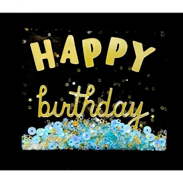 """Открытка """"Happy Birthday"""" конфетти"""