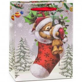 """Пакет подарочный """"Новогодний носок с медвежатами"""", 42*31*12 см фото"""