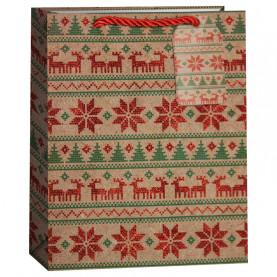 """Пакет подарочный """"Новогодний орнамент с оленями"""", 42*31*12 см фото"""