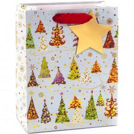 """Пакет подарочный """"Разноцветные елочки"""", 42*31*12 см фото"""