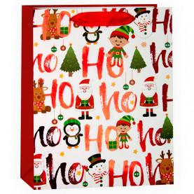 """Пакет подарочный """"С Новым Годом"""" (Дед Мороз и елочки), 42*31*12 см фото"""