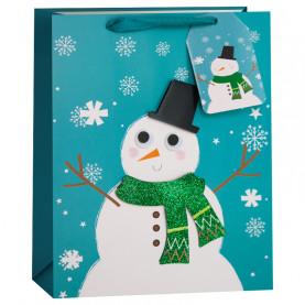 """Пакет подарочный """"Снеговик и снежинки"""", 42*31*12 см фото"""