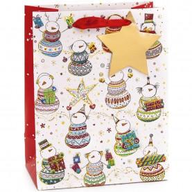 """Пакет подарочный """"Стильные снеговики"""", 42*31*12 см фото"""