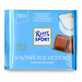 "Шоколад ""Ritter Sport"", Альпийское Молоко 100 гр. фото"