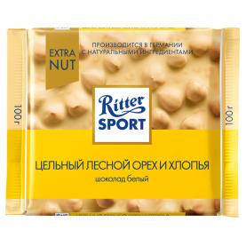 """Шоколад """"Ritter Sport"""", Цельный Лесной Орех и Хлопья (Белый) 100 гр. фото"""