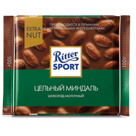 """Шоколад """"Ritter Sport"""", Цельный Миндаль 100 гр. фото"""