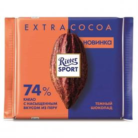 "Шоколад ""Ritter Sport"", EXTRA COCOA 74% (Темный) 100 гр. фото"