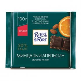 """Шоколад """"Ritter Sport"""" Миндаль и Апельсин (Тёмный) 100 гр. фото"""