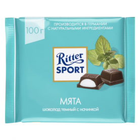 "Шоколад ""Ritter Sport"", Мята (Темный) 100 гр. фото"