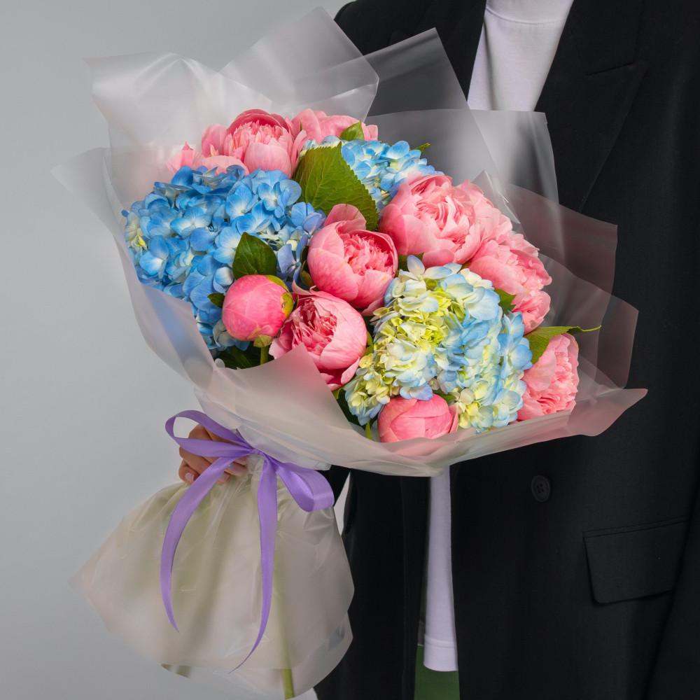 """Букет """"Розовые Пионы и Голубые Гортензии"""" мини фото"""
