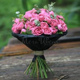 15 Розовых Роз Кустовых Пионовидных фото