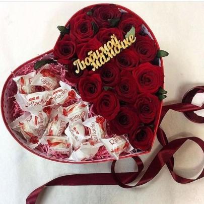 """Сердце """"Розы и Рафаэлло""""  фото"""
