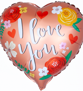 """Воздушный Шар """"Сердце"""", Я Люблю Тебя (Цветы)"""