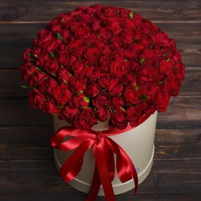 101 Красная Роза (40 см.) в шляпной коробке