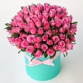 101 Розовая Роза (40 см.) в шляпной коробке