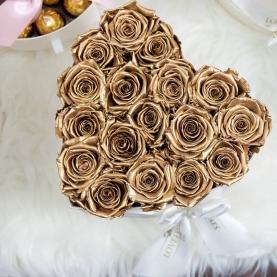 17 Золотых Роз (40 см.) в коробке сердце фото