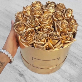 "Шляпная коробка ""21 Золотая Роза"" фото"