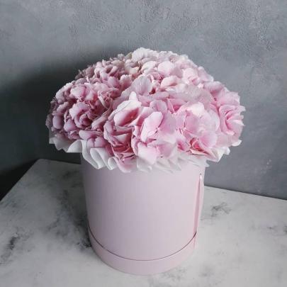 "Шляпная коробка ""5 Розовых Гортензий"" фото"