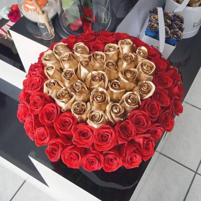 101 Красно-Золотая Роза (50 см.) сердце